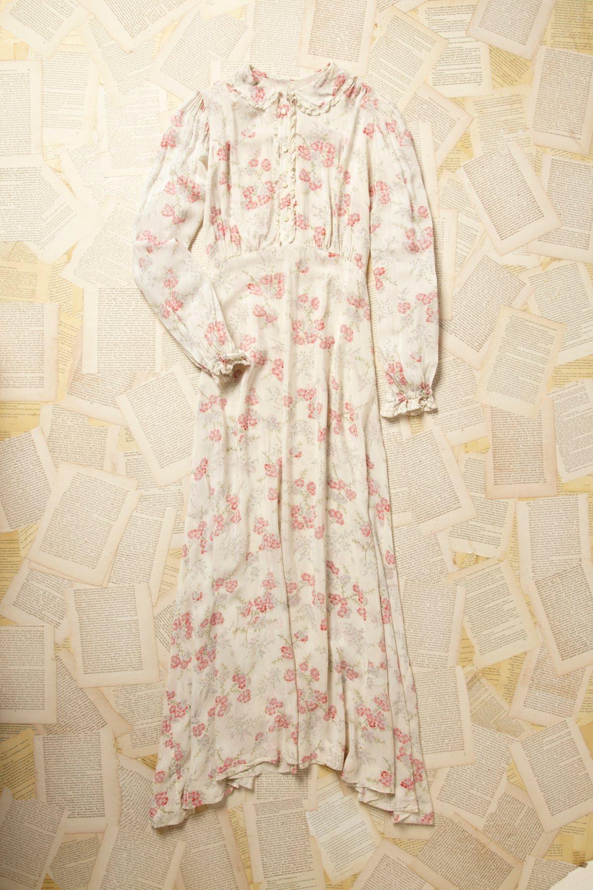 Vintage 1960s Sheer Floral Maxi Dress