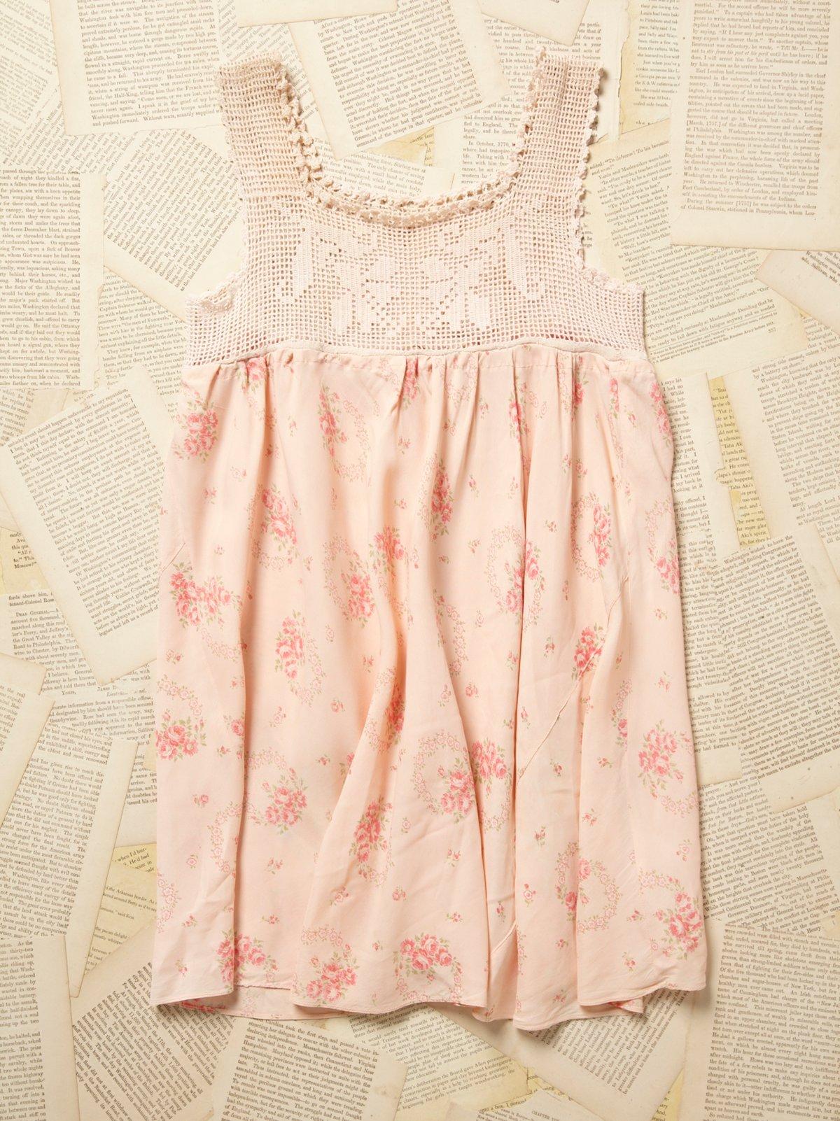 Vintage 1950s Floral Satin Mini Dress