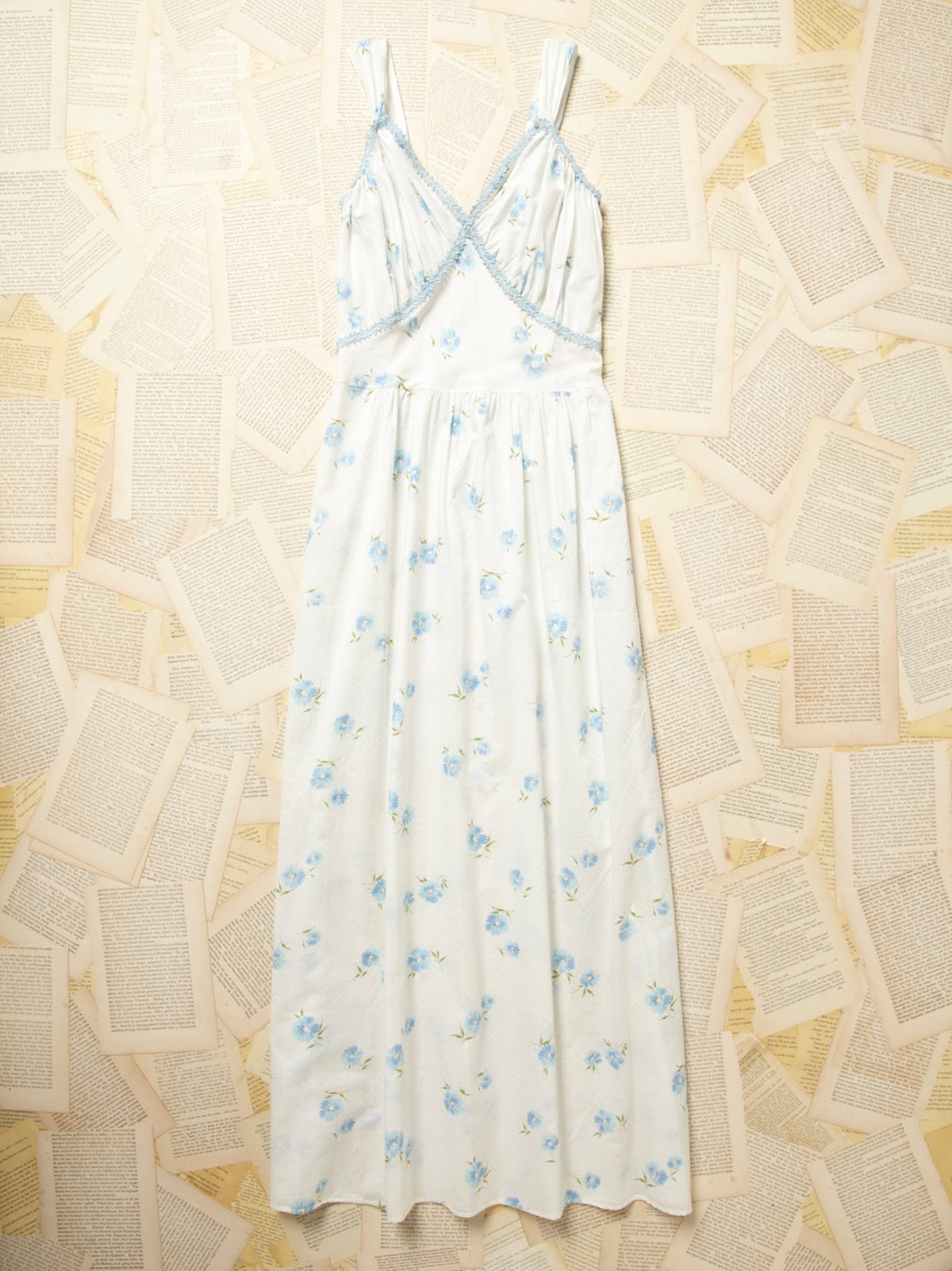 Vintage 1960s Blue Floral Cotton Dress