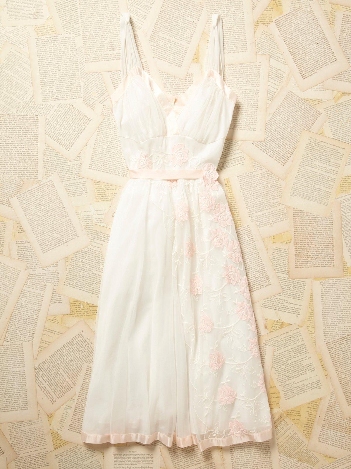 Vintage 1950s Embroidered Sheer Dress