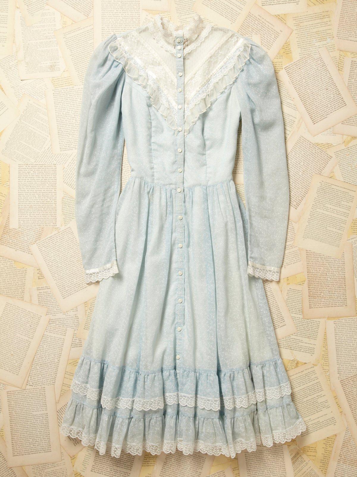 Vintage 1970s Gunne Sax Blue Floral Dress