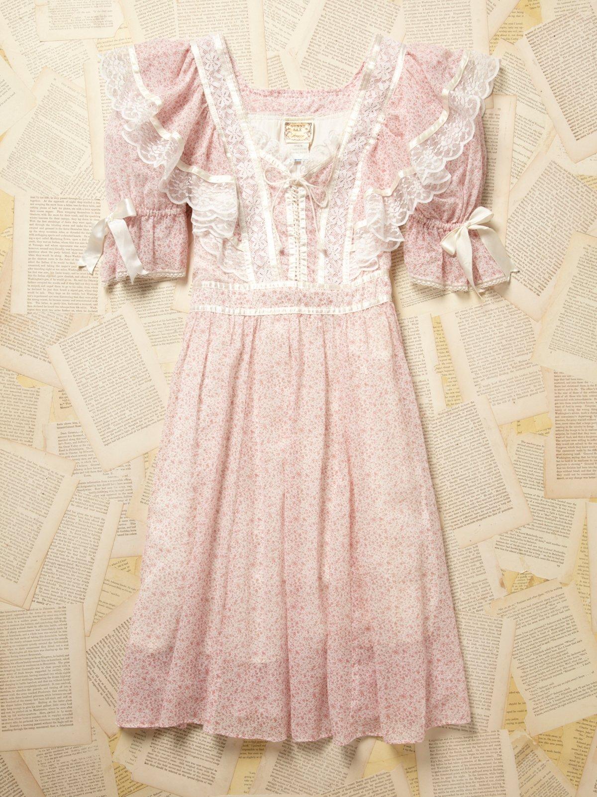 Vintage Gunne Sax Pink Floral Dress
