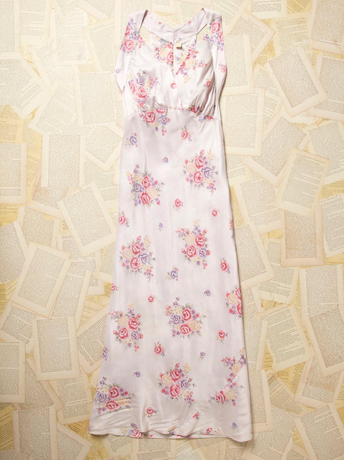 Vintage 1960s Pink Floral Slip Dress