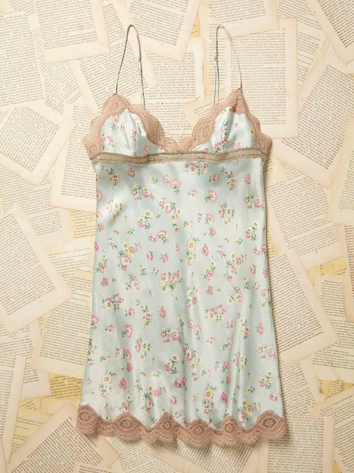 Vintage 1950s Blue Floral Silk Slip