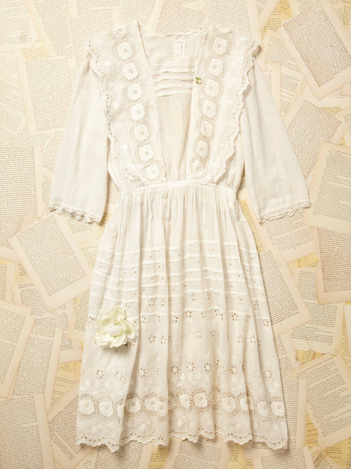 Vintage Victorian Lace and Cotton Dress