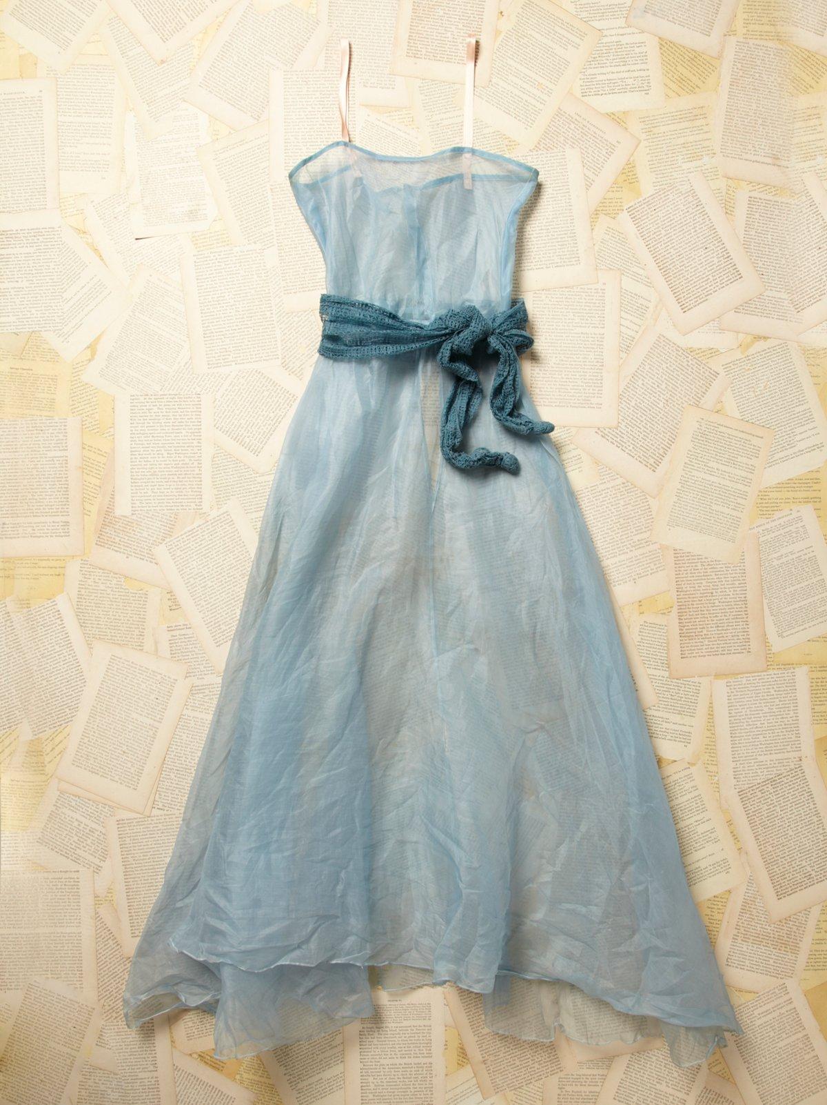 Vintage 1930s Sheer Blue Dress