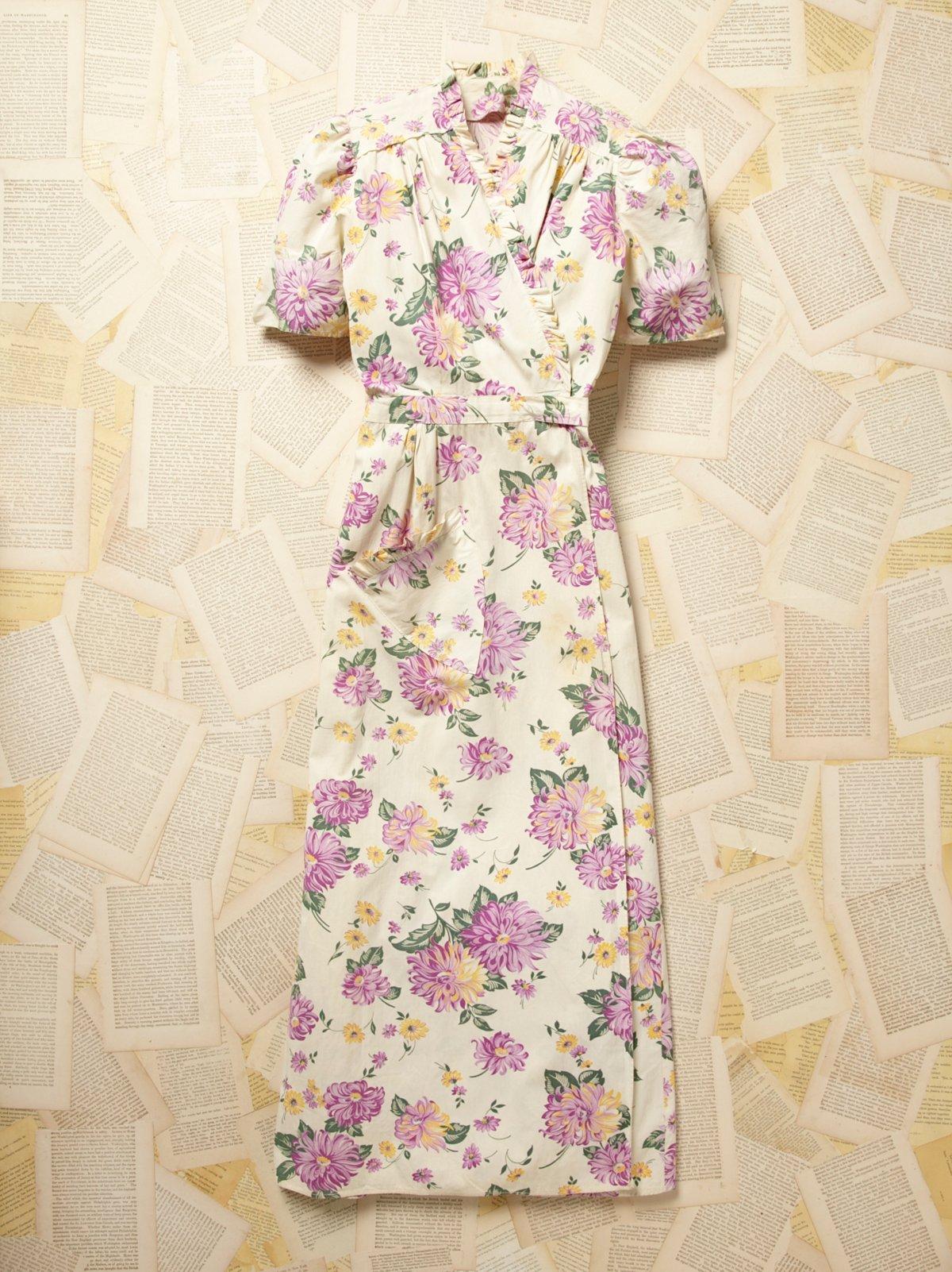 Vintage 1940s Floral Wrap Dress