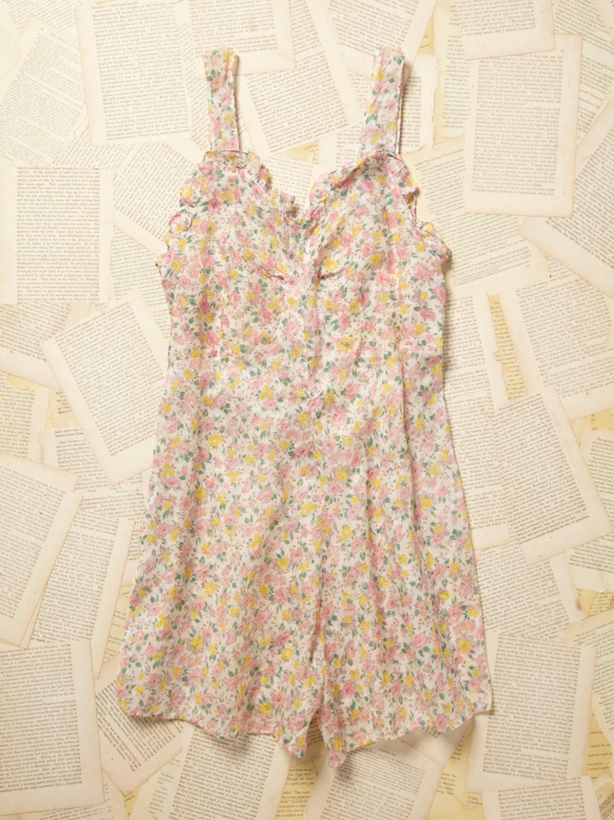 Vintage 1970s Sheer Floral Romper