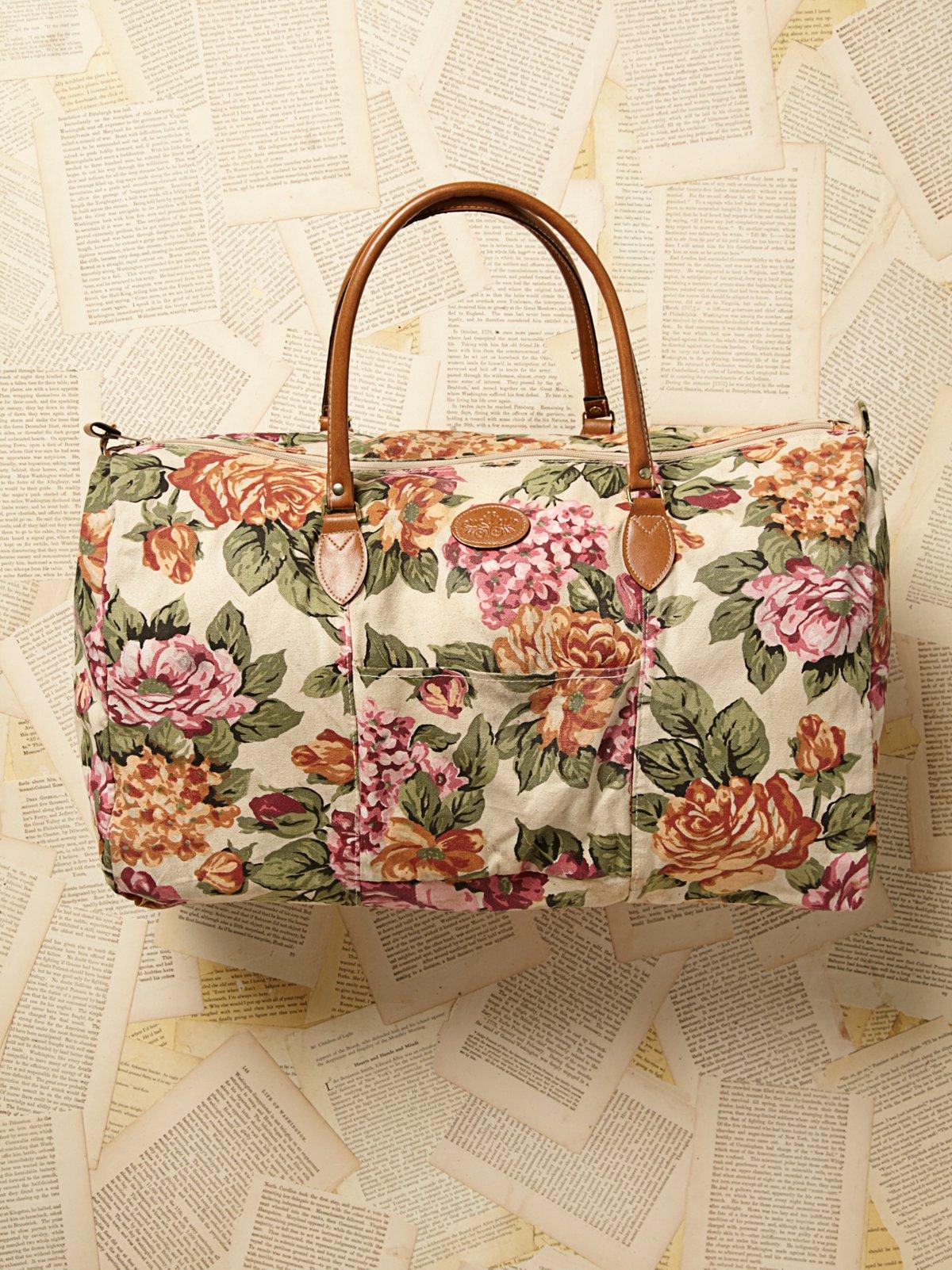 Vintage 1980s Floral Duffle Bag