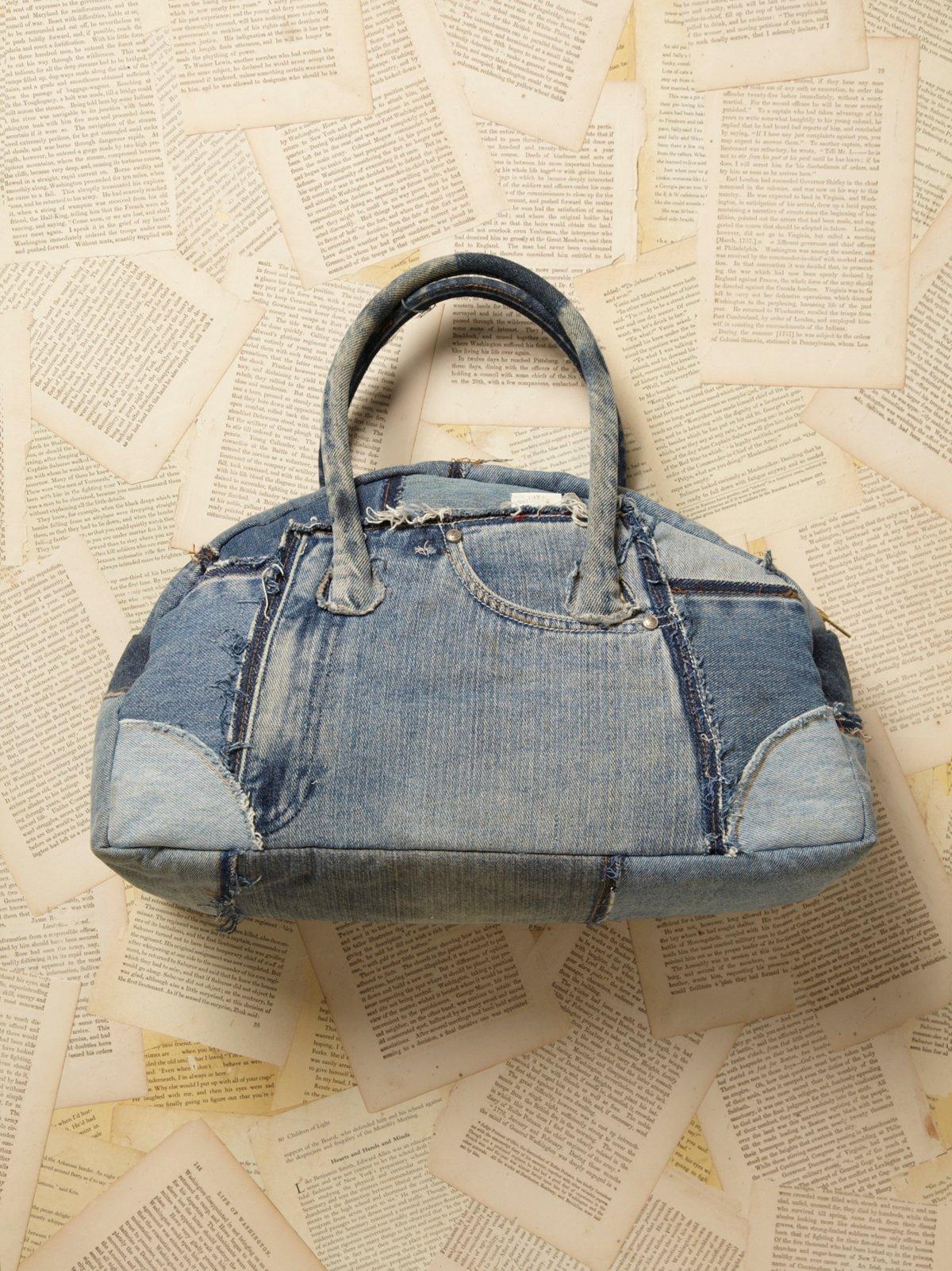Vintage 1980s Denim Duffle Bag