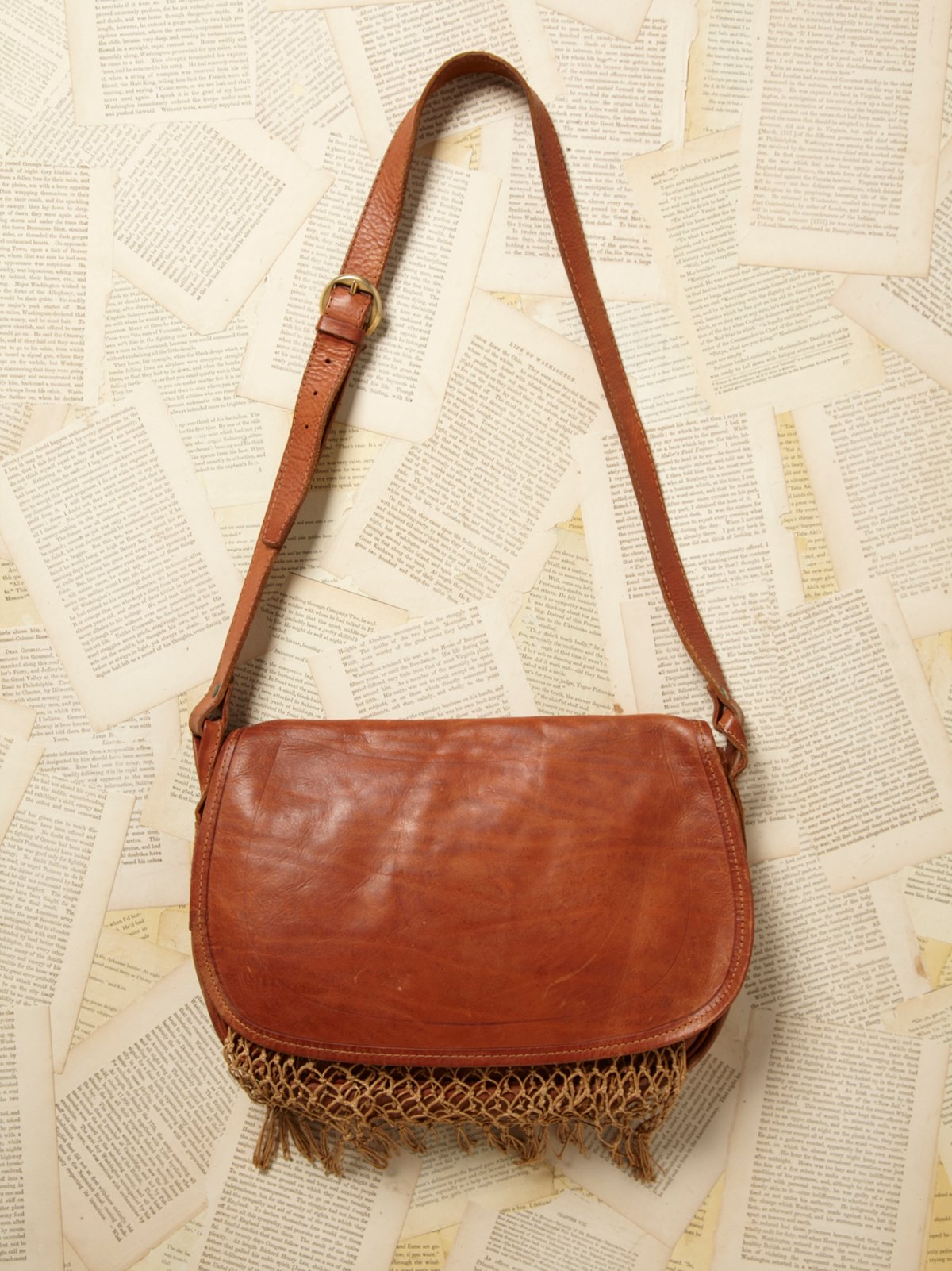 Vintage Leather and Net Messenger Bag