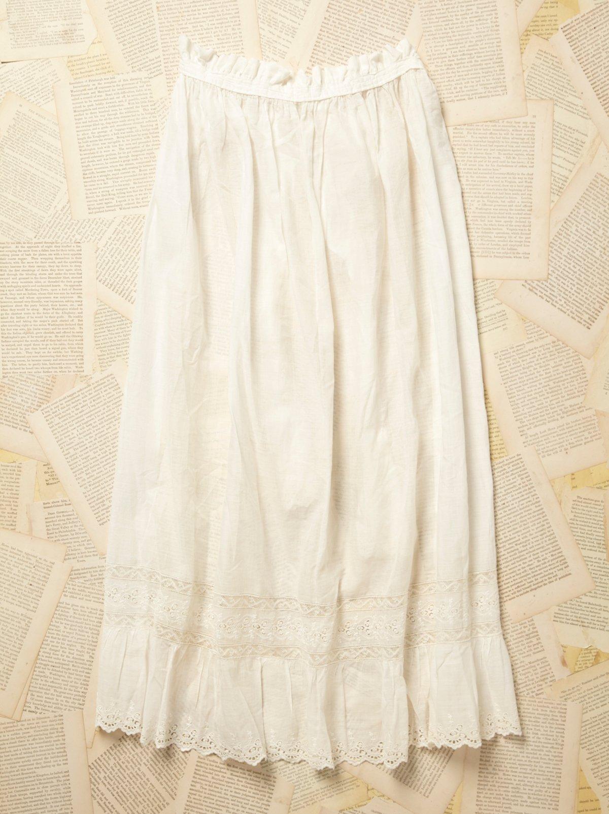 Vintage Victorian White Cotton Apron