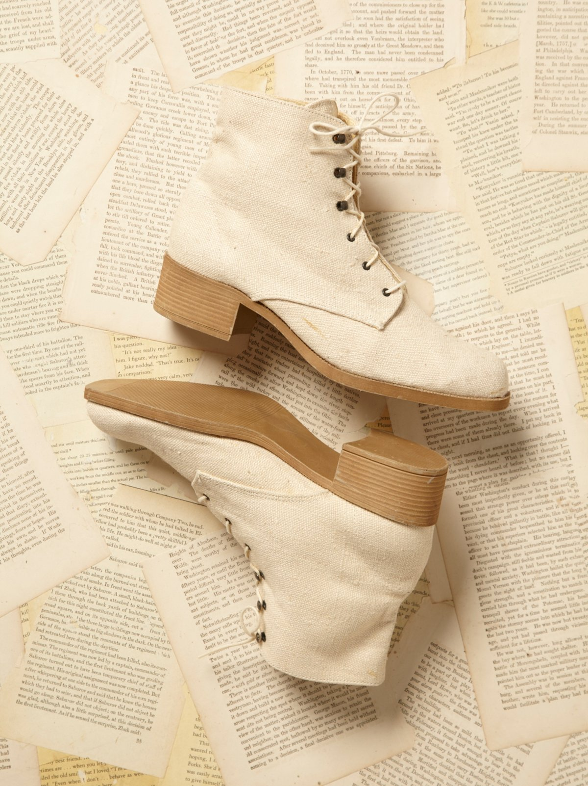 Vintage Canvas Lace Up Boots