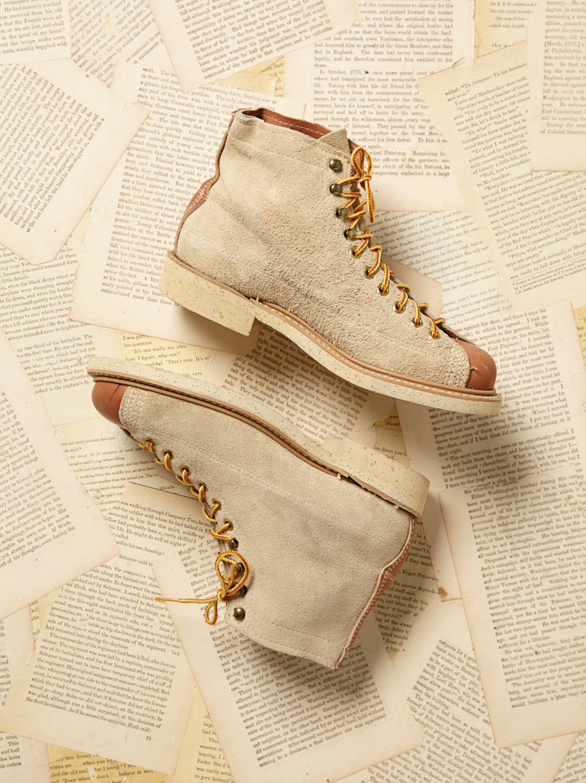 Vintage Suede Lace Up Boots