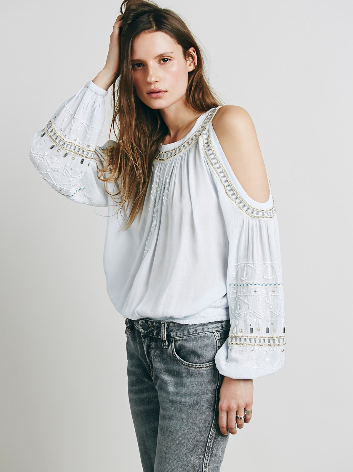 Embellished Banded Open Shoulder Top