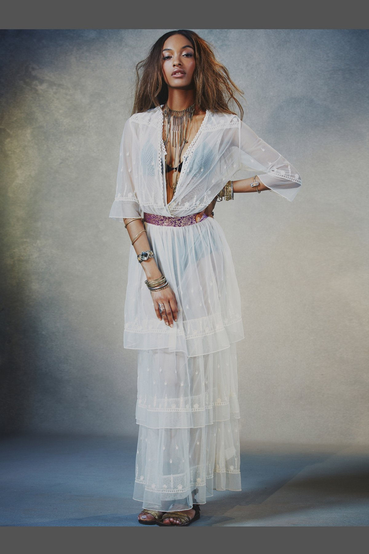 Abby Mesh Embroidered Maxi
