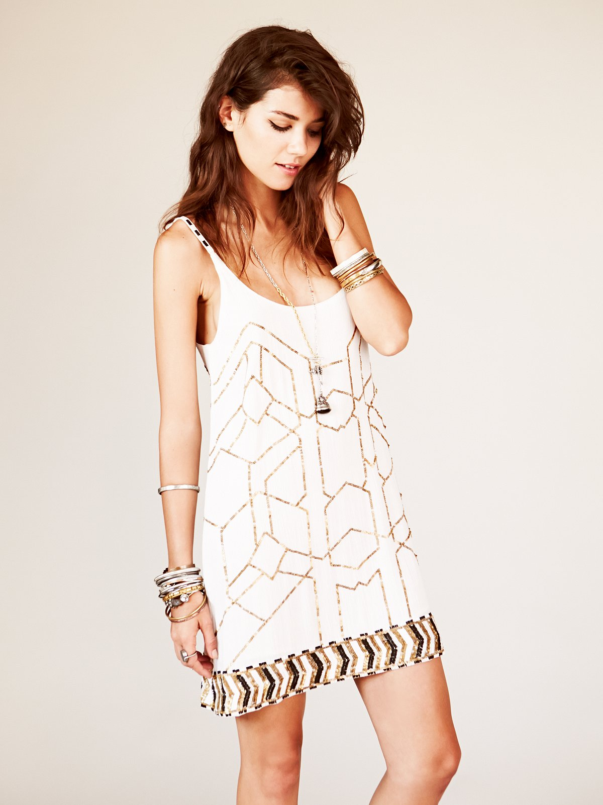 Gauze Sequin Shift Dress at Free People Clothing Boutique