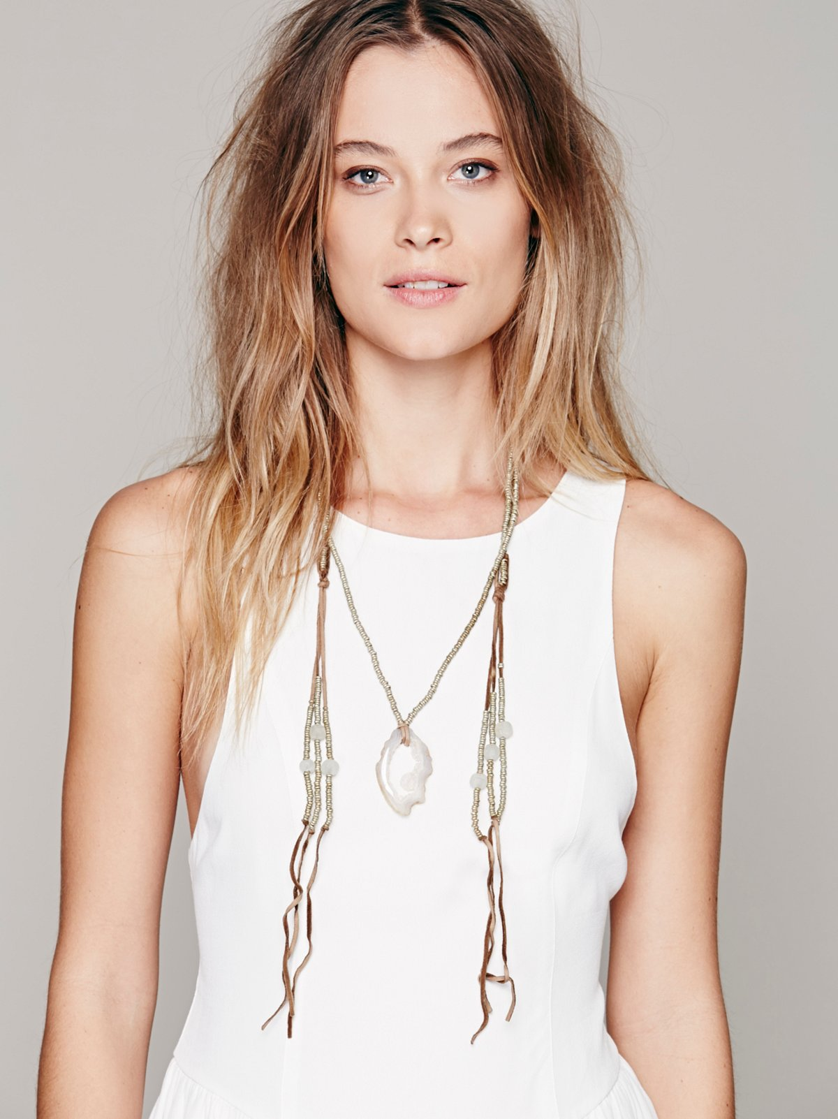 Agate & Leather Loop Necklace