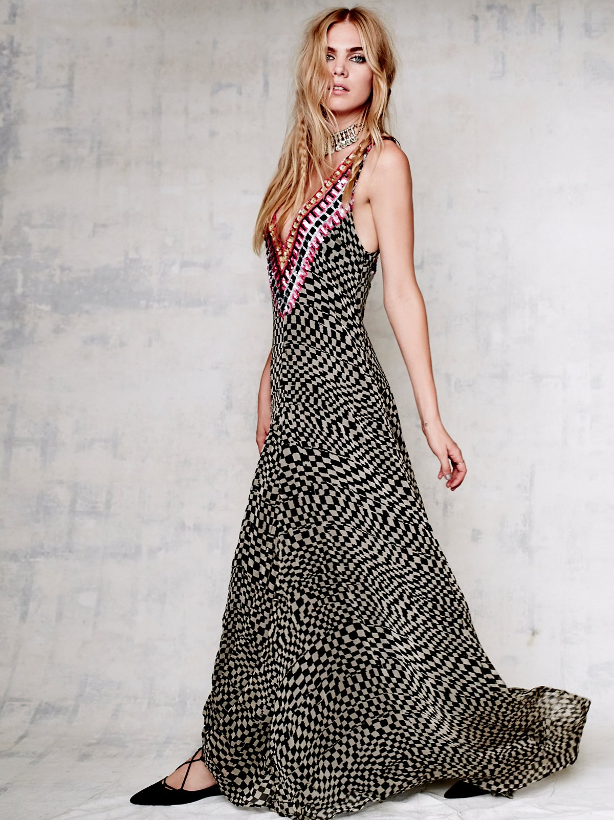 Deep V Checkers Gown