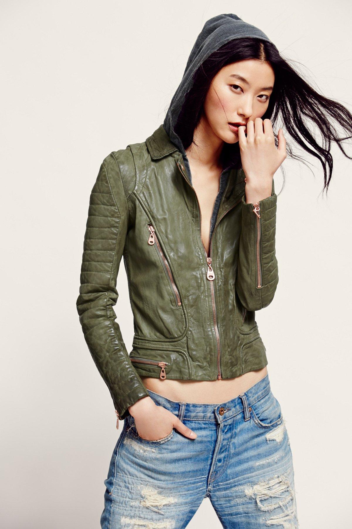 Doma Green Hood Leather Jacket