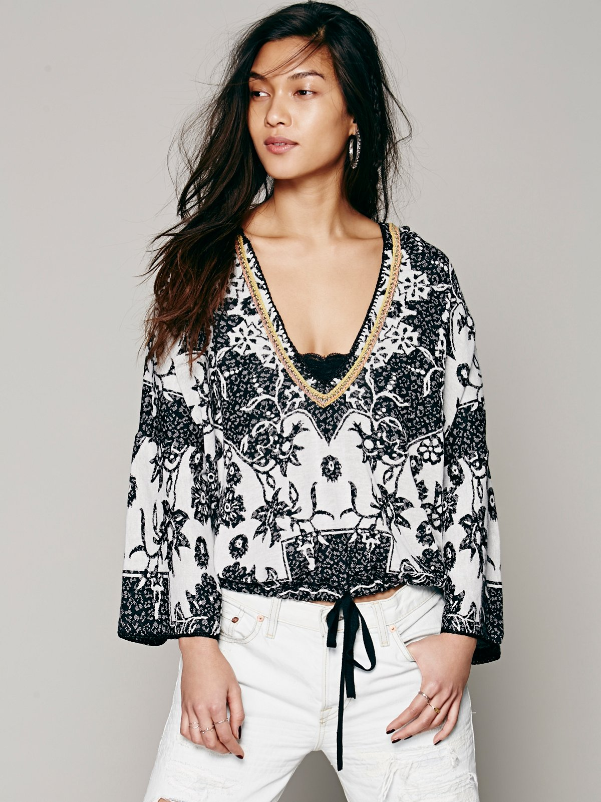 Embroidered Lace Up Pullover