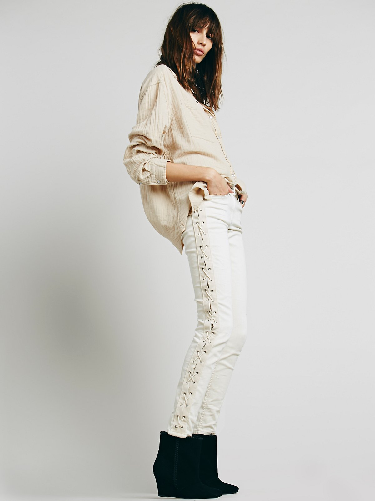 Lace Up Skinny Jean