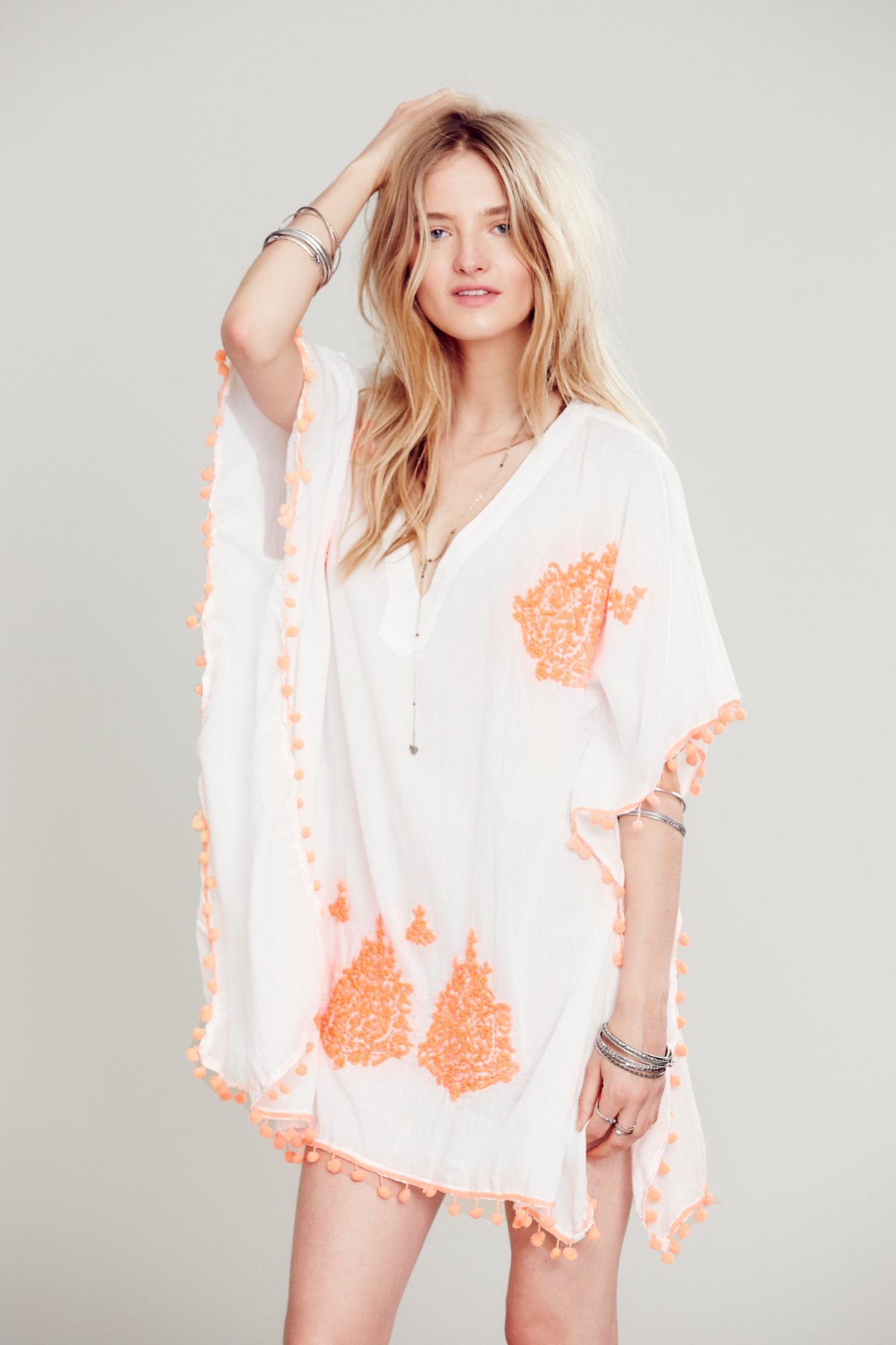 Neon Embroidered Pullover Poncho