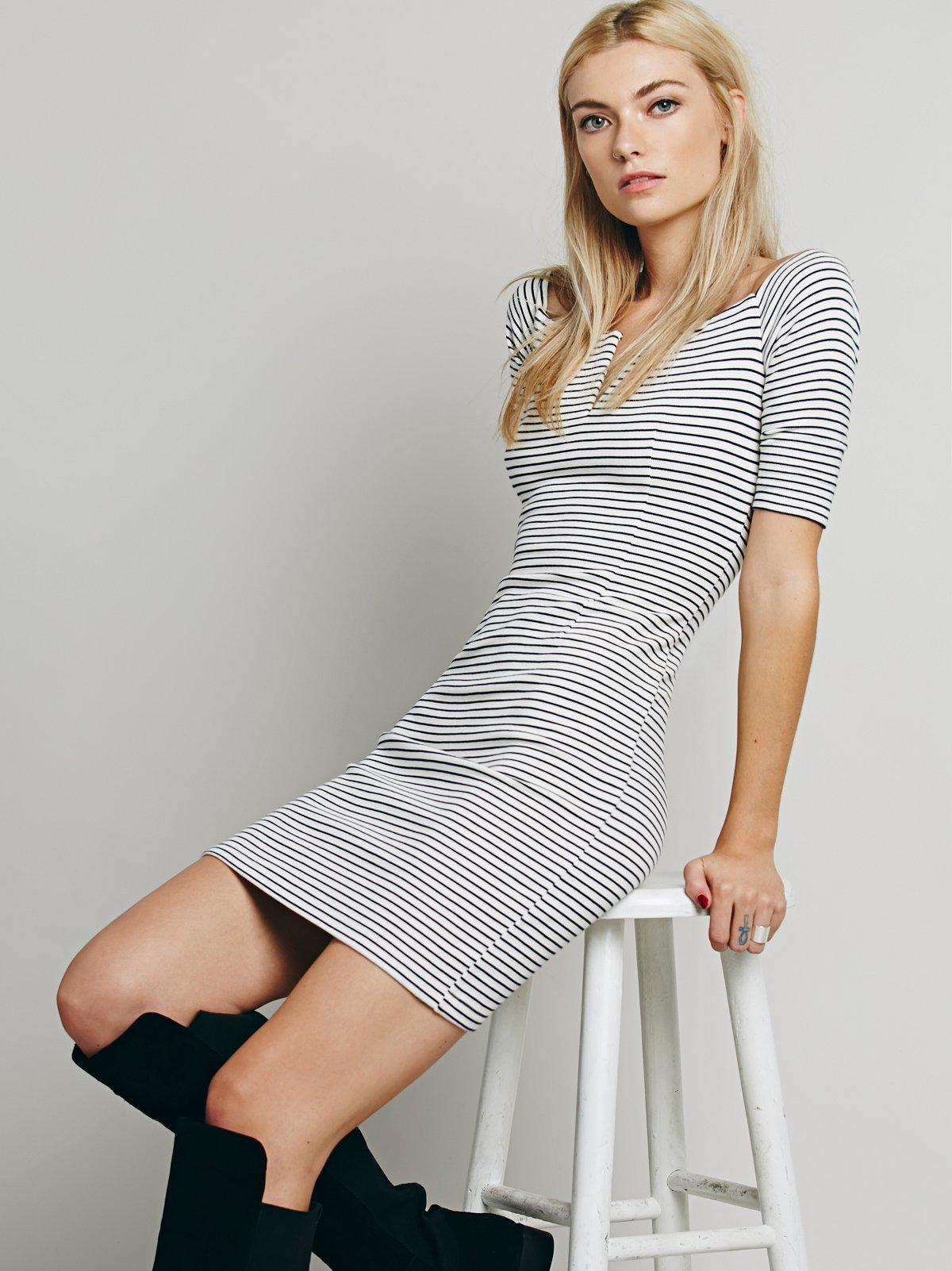 Off the Shoulder Navy Stripe Dress