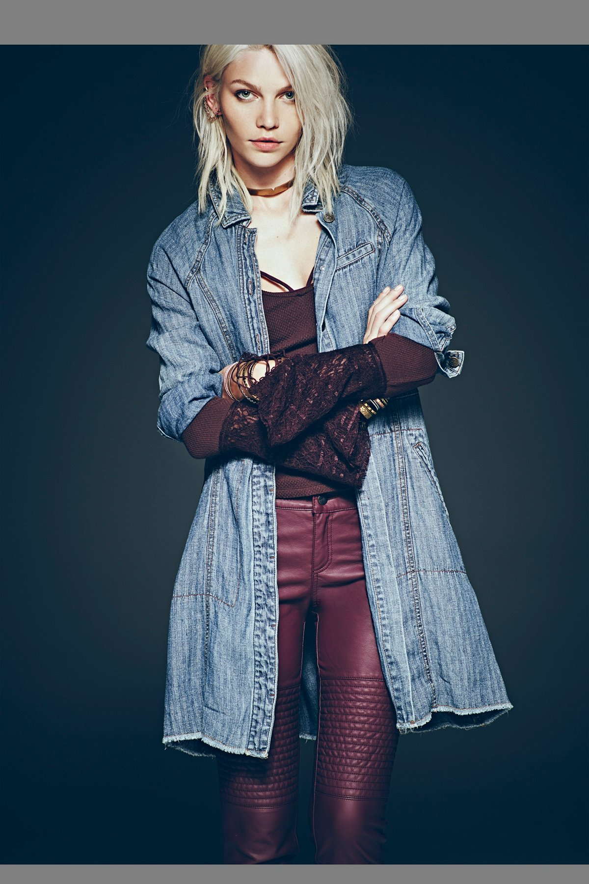 Herringbone Denim Duster