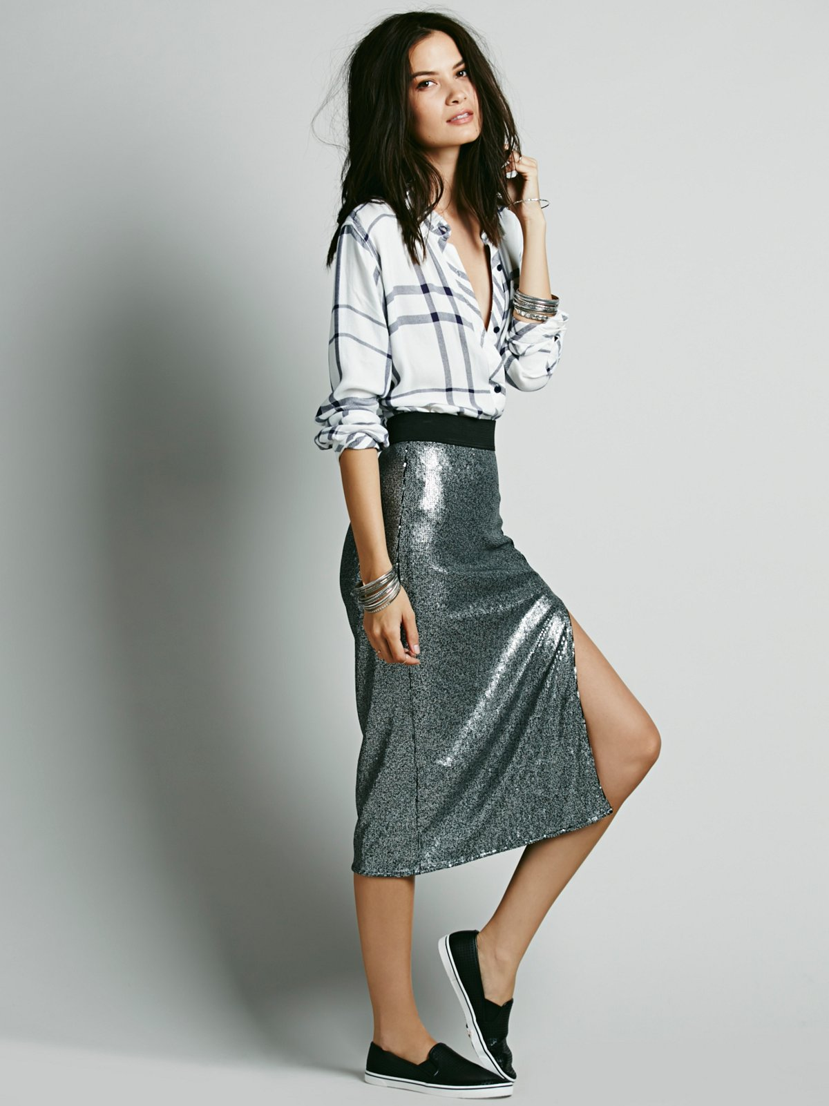 Disco Sequin Pencil Skirt