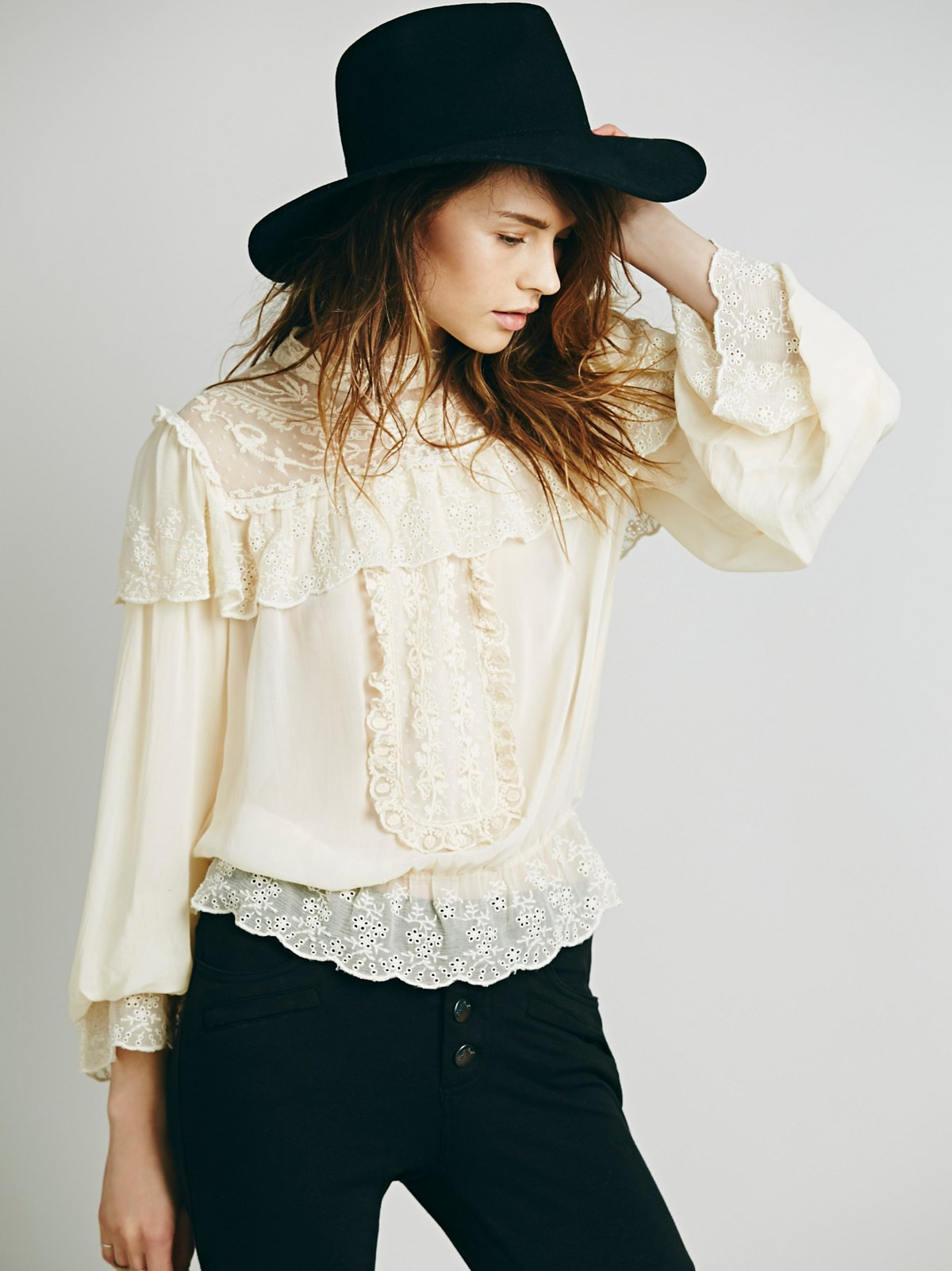 Embroidered Victorian Ruffle Top