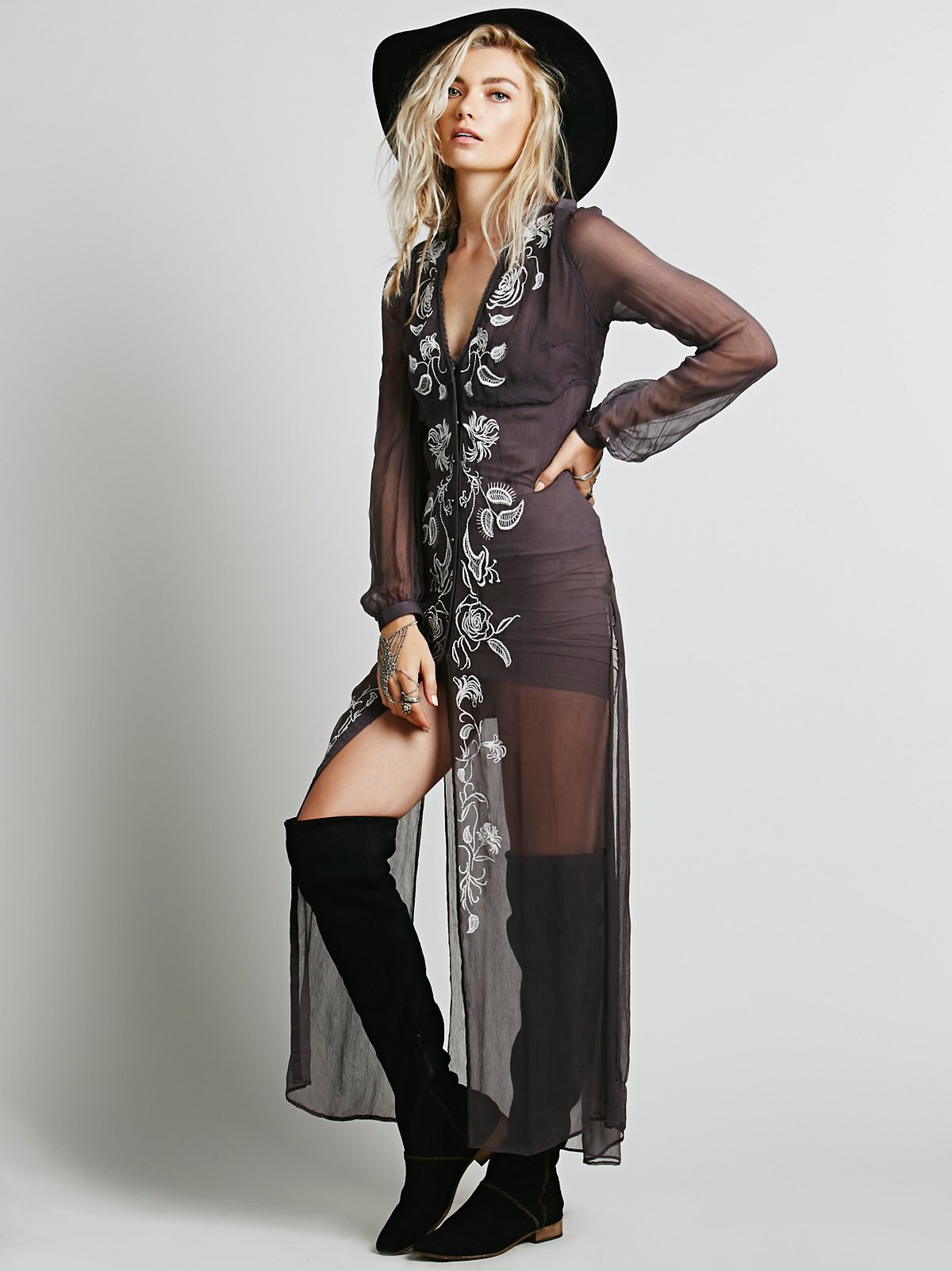 Sheer Embroidered Maxi