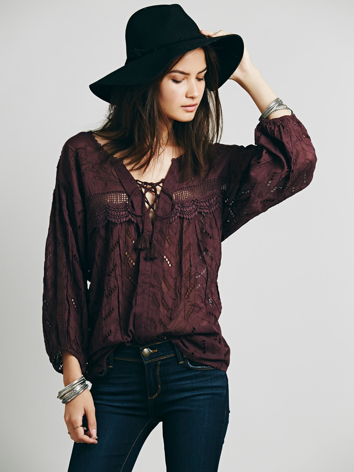 Eyelet Lace Up Peasant Top