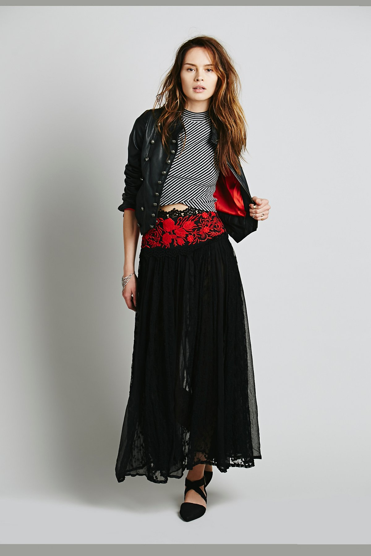 Embroidered Waist Party Maxi