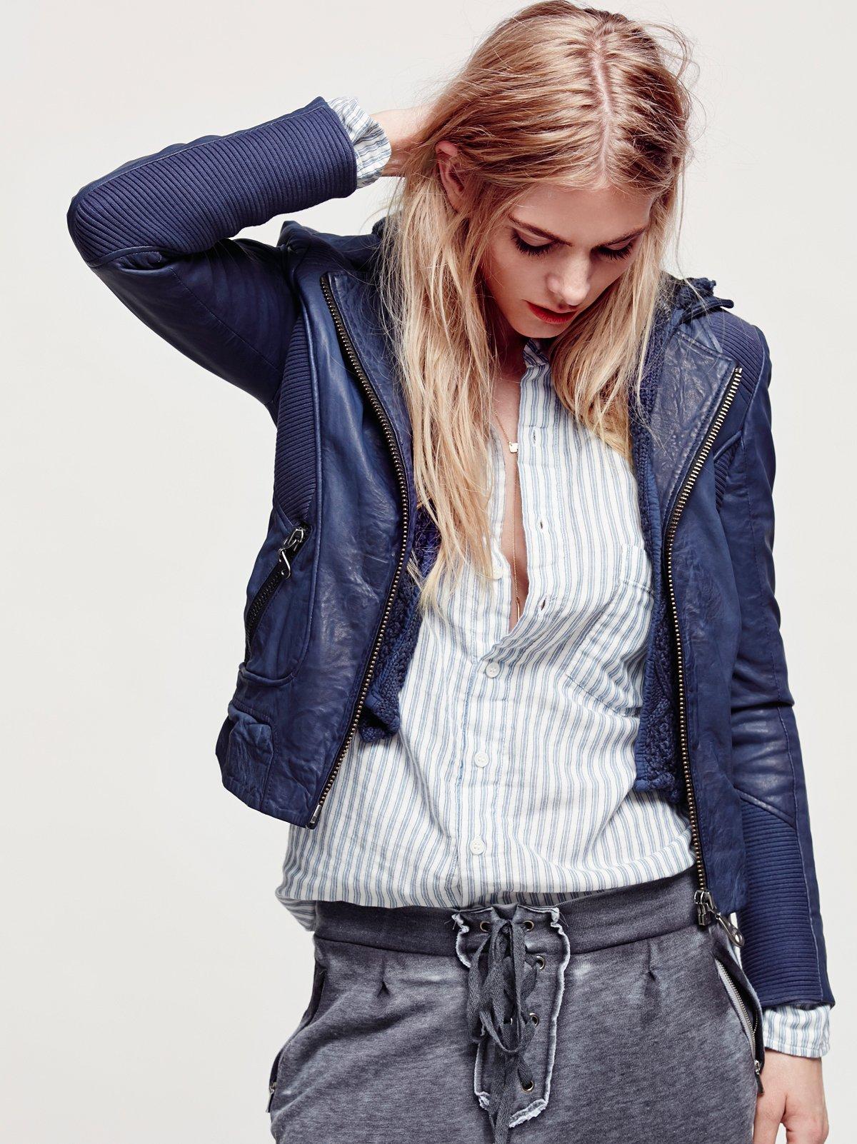 Sweater Hood Leather Biker Jacket