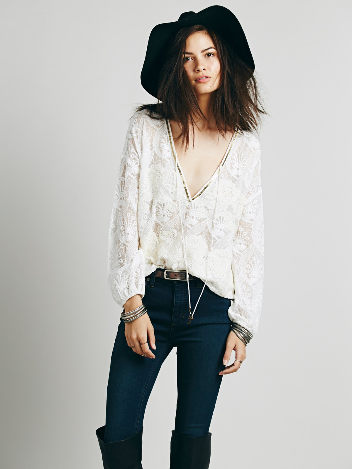 Embellished Deep V Peasant Top