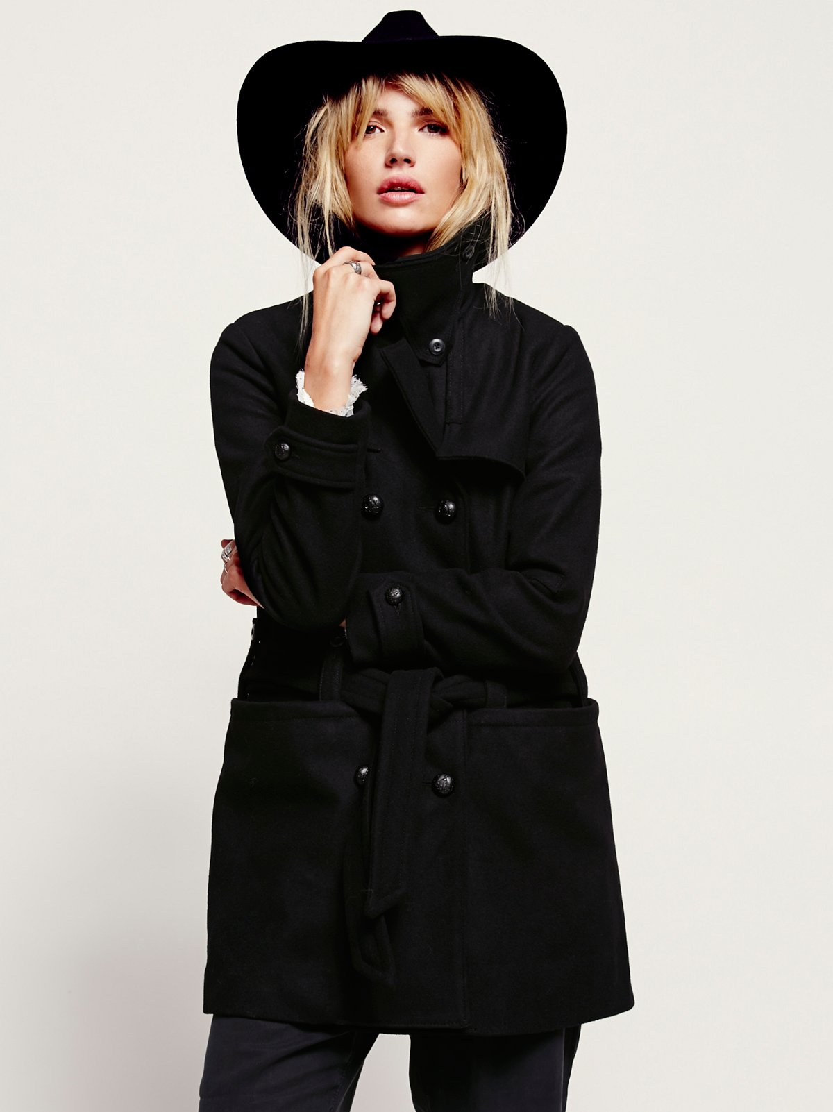 Military Belted Wool Coat