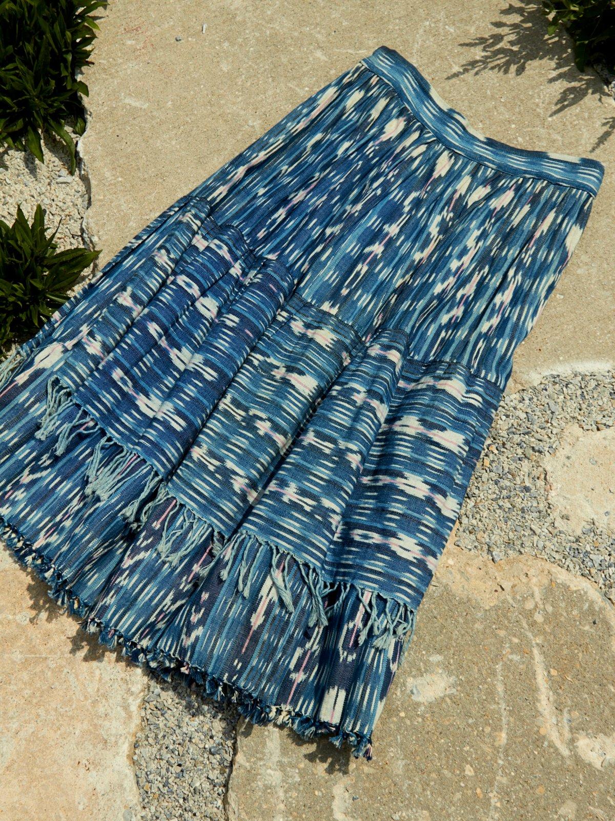 Vintage Ikat Fringe Skirt