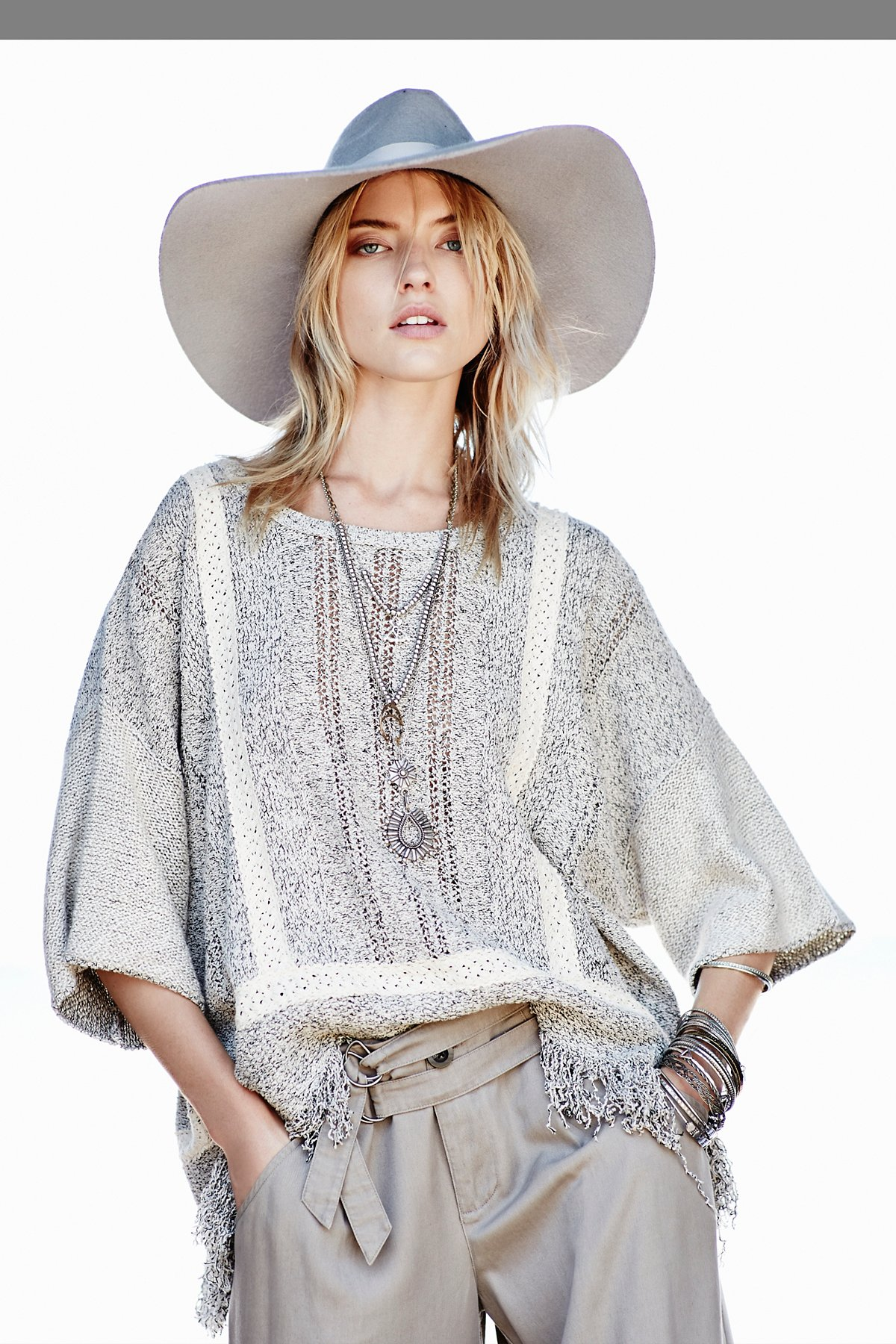 FP New Romantics Fringe Kimono Pullover