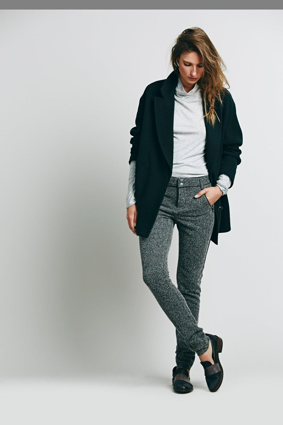 高腰男装式打底裤