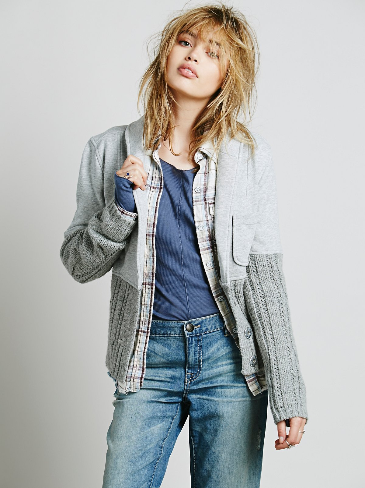Mixed Cable Sweater Jacket