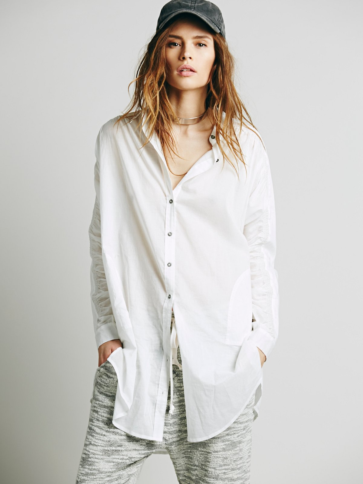 Oversize Ruched Sleeve Long Shirt