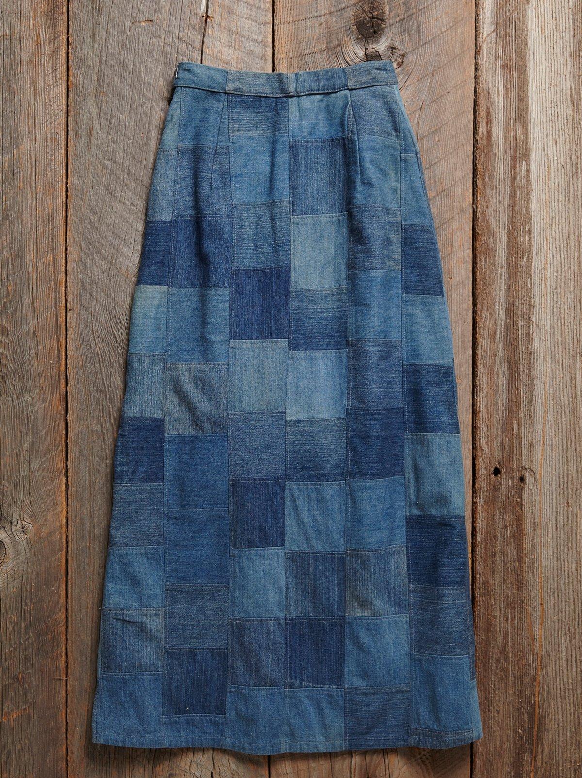 Vintage 1970s Patchwork Denim Skirt
