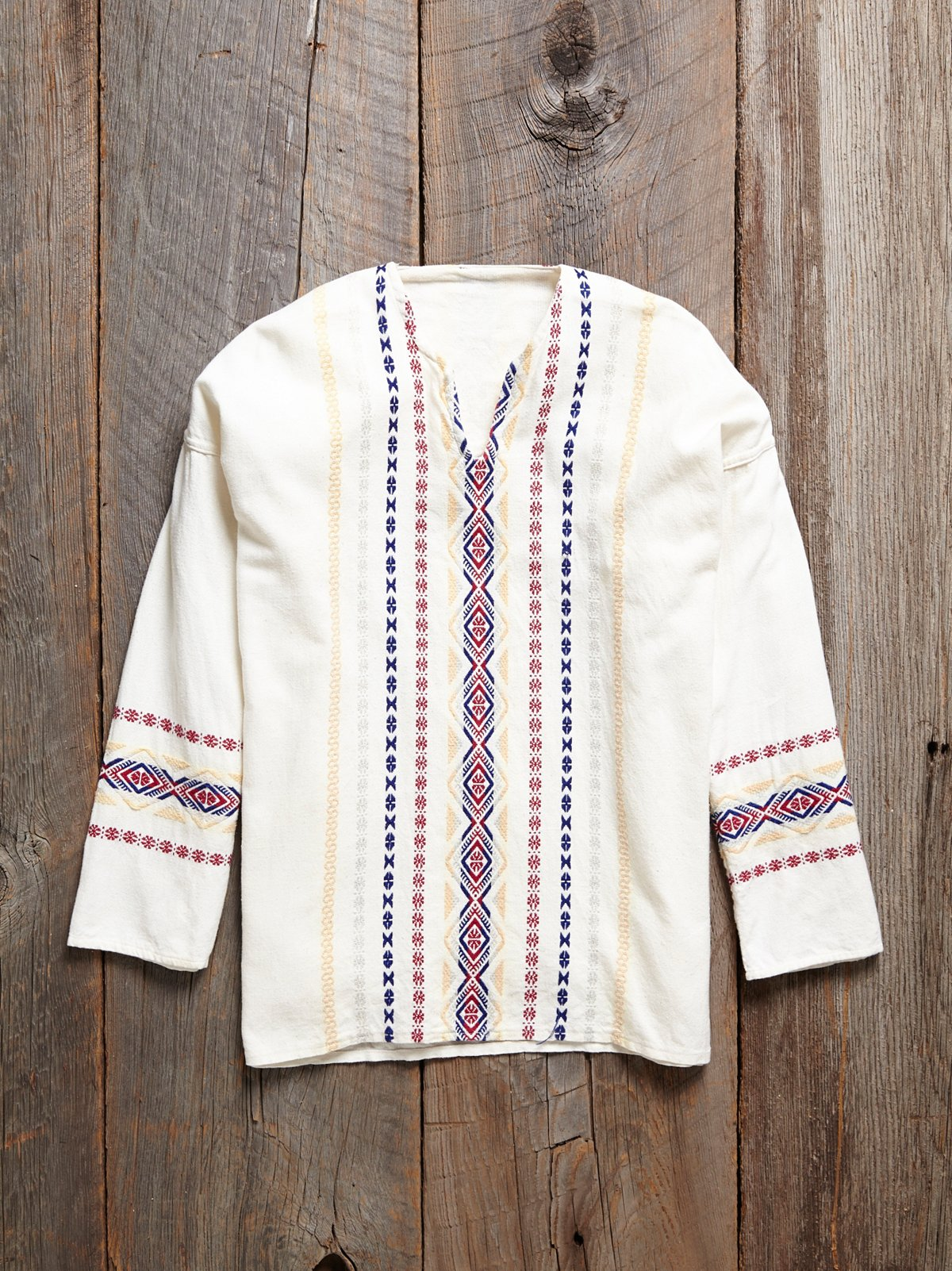 Vintage 1970s Embroidered Tunic Shirt