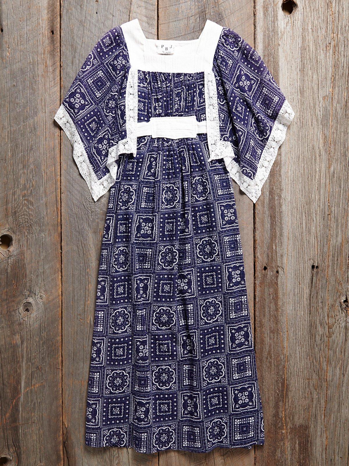 Vintage Embroidered Bandana Print Dress