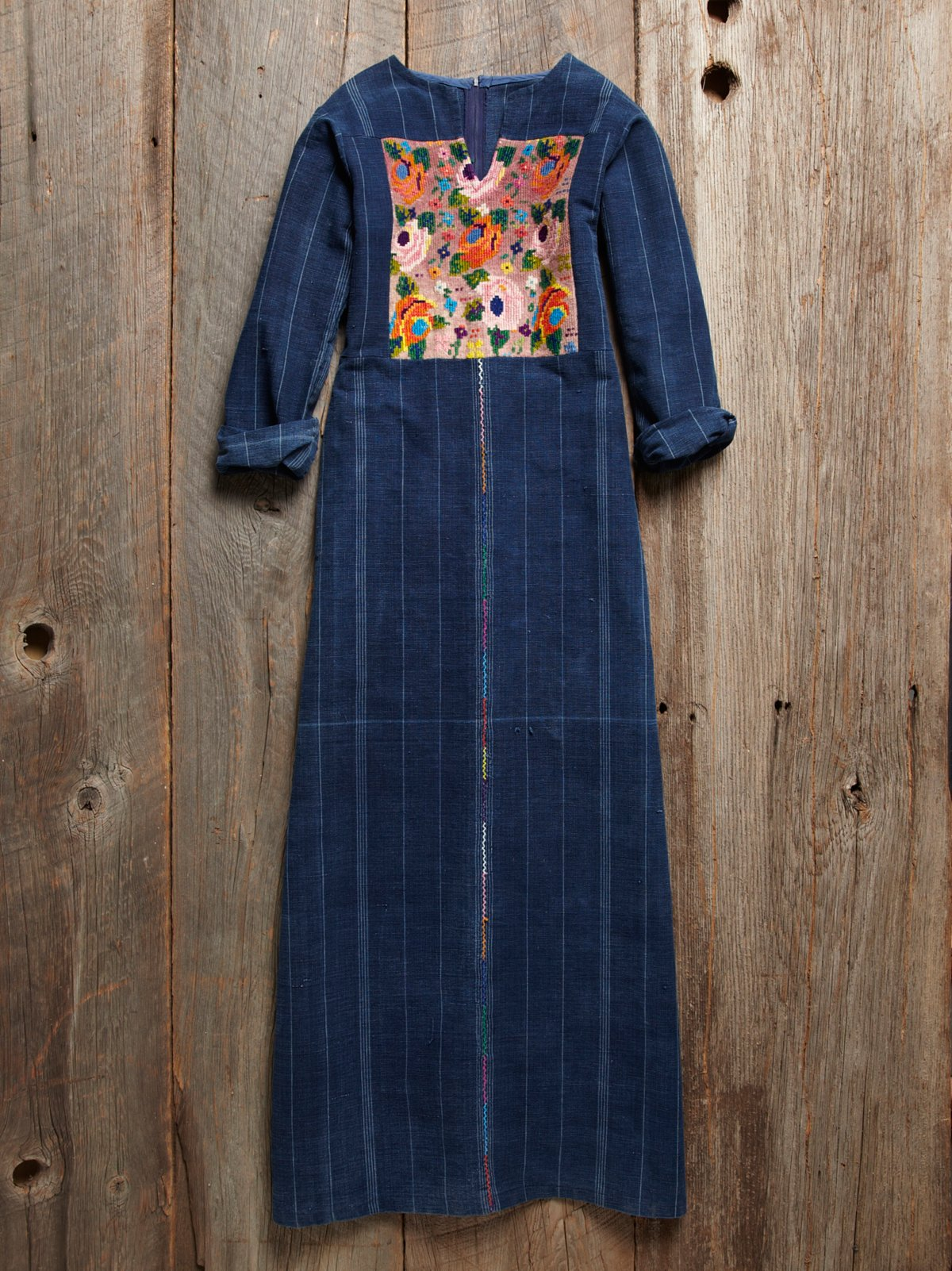 Vintage Denim Embroidered Caftan