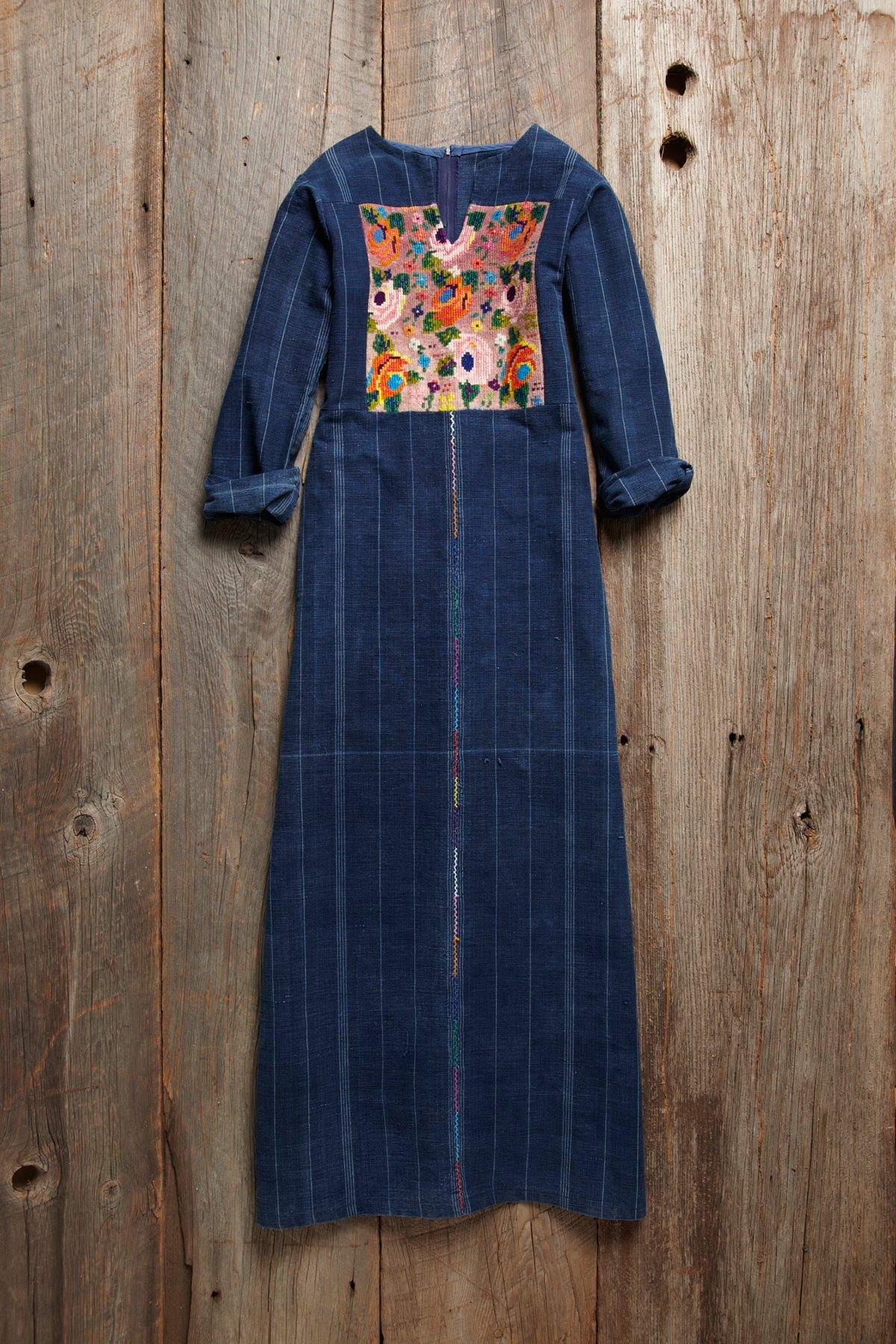 Vintage Denim Embroidered Caftan