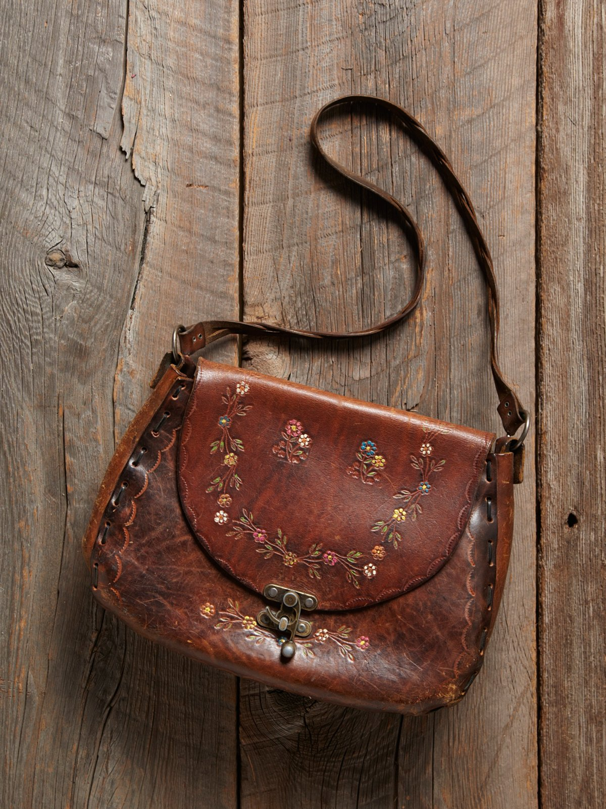 Vintage Tooled Floral Leather Bag