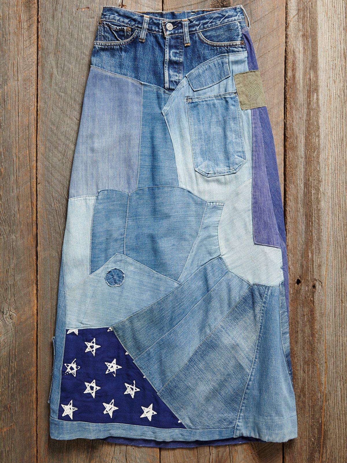 Vintage 1970s Levis Patchwork Skirt