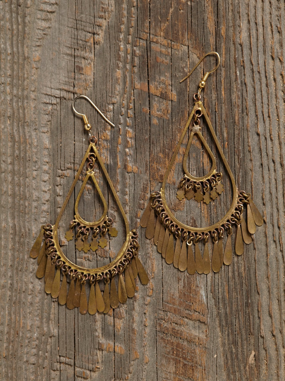 Vintage Brass Teardop Earrings
